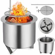 Double Fire Pit Patio Burner Bbq Grill Round Wood-burning Flame Camping Site