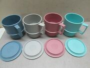 Vintage Nos Tupperware Stacking Coffee Cup Soup Mug With Lids Pastel 1312-11