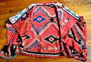 Beaded Southwestern Aztec Embroidered Dress Cape Poncho Sweater Os