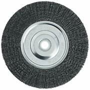Wire Bench Wheel Brush Fine Crimped W/ 1/2-inch And 5/8-in Arbor 6-in-by-008-in