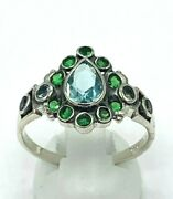 Ring Aquamarine And Emerald 925er Silver Antique Style