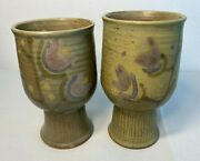 2 Frances Senska Handcrafted Studio Pottery Moss Green And Lilac Rare Goblets