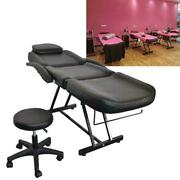 Black Facial Bed Salon Barber Chair Sheet Set Spa W/tattoo Massage Table And Stool