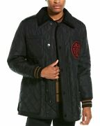 Varsity Graphic Diamond Quilted Barn Jacket Menand039s Black S