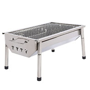 Portable Barbecue Charcoal Grill Stainless Steel Folding Tabletop Hibachi Grill