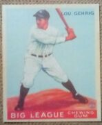 1933 Goudey Lou Gehrig 92 Rp Novelty Card.n.y. Yankees.mint.free Shipping