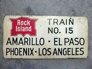 Authentic Rock Island Train Sign Old Wooden Railroad Ticket Amarillo Los Angeles