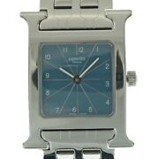 Hermes Hh1.210 Watch Women And039s Blue Stainless Steel Needles Battery Operated