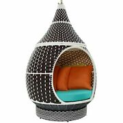 Ergode Palace Outdoor Patio Wicker Rattan Hanging Pod - Brown Turquoise