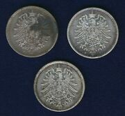 Germany Empire 1 Mark Silver Coins 1875-a, 1876-f, And 1886-f, Group Lot Of 3