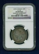 Canada Victoria 1870 L.c.w. 50 Cents Silver Coin Certified Ngc Xf Details