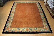 On Sale Vintage Chinese 9and039x12and039 Early 1900 Rust Color Art Deco Design Antique Rug
