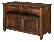 Amish Transitional Solid Wood Tv Stand Console Cabinet Arched Details Drawer 48