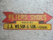 Antique Vintage Peters Shoes Sign Pointing Arrow Miles To Metal Road Store Ahead