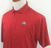 Wells Fargo Bank Polo Shirt Menand039s Large Ruby Red Stagecoach Logo Mint Ss