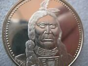 1- Troy .oz Rare Oglala Sioux Native Indian Tribal Nations .925 Silver Coin+gold