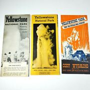 Yellowstone National Park Vtg 1950s Brochure Activity Photo Map Prices Lot Of 3
