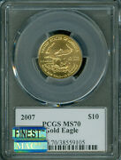 2007 10 Gold Eagle 1/4 Oz Jim Reed Autograph Pcgs Ms-70 Mac Finest And Spotless