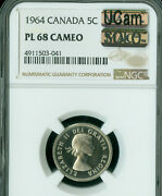 1964 Canada 5 Cents Ngc Pl68 Cameo Ucam Mac Solo Finest Spotless 1 In 10000