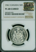 1961 Canada Silver 50 Cents Ngc Pl68 Cameo Ucam Pq Mac Finest Mac Spotless .