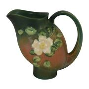 Roseville Pottery White Rose Brown And Green Pitcher 1324