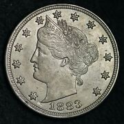 1883 N/c Liberty V Nickel Choice Bu Sharp Stars Free Shipping E182 Jce