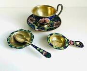Russian Ussr 916 Enameled Gilded Sterling Silver Tea Set Cup And Saucer Spoon