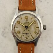 C.1940 Vintage Tudor Oyster By Rolex Military Watch Ref. 4453 Cal. 59 In Steel