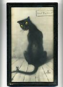 Adm A.d.m. Cooper Cat And Mouse Antique Old Lithograph Framed Art Print