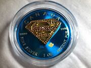 2016-1oz.superman Space Blue With Red Crystals Silver Coin