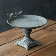 New French Country Cottage Chic Bird Pedestal Tray Riser Dessert Candle Stand