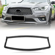 Gloss Black Front Grille Trim Overlay Cover For 18 19 20 Infiniti Q50 All Models