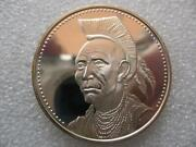 1.oz Rare Chief Gall Sioux Native Indian Tribal Nations .925 Silver Coin+gold