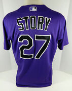2020 Colorado Rockies Trevor Story 27 Game Issued Pos Used Purple Jersey 911