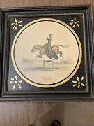 Antique Set Of Equestrian Colored Prints Framed Leaping And Road Riding