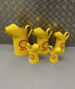Set Of 5 Graduated Shell Oil Cans Garage Shed Mancave