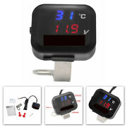 Usb Motorcycle Air Temperature Gauge Led Voltmeter Voltage Thermometer Meter