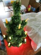 Vintage Glo-lite Glass Tube Lighted Christmas Tree Holiday Decorations