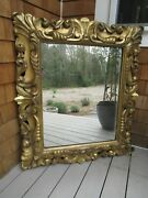 Antique 19thc. Italian Gold Gilt Hand Carved Wood Painting Or Mirror Frame