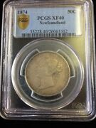 1874 Newfoundland 50 Cent Silver Coin - Pcgs Graded Xf-40
