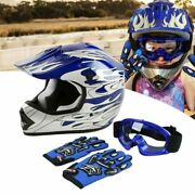 Full Face Helmet Motorcycle Youth Kids Child Motocross Street Goggles And Gloves