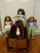 American Girl 2, Bitty Twin Girl Dolls And Clydesdale Prancing Brown Horse