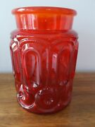 Vtg L. E. Smith Red Amberina Glass Moon And Stars Med. Canister Without Lid