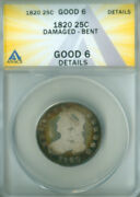 1820 Capped Bust Quarter Anacs G-6 Details Free S/h 2126722