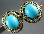 Antique Large Aaa Turquoise And Pearl 14k Yellow Gold Oval Filigree Earrings 27292