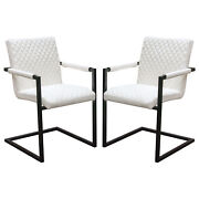 Nolan 2-pack Dining Chairs In White Diamond Tufted Leatherette On Black Powde...