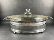 Vintage Pyrex Oval Handled Etched Glass Baking Dish With Chrome Carrier