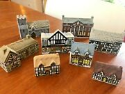 Lot Of 8 Whimsey On Why Wade England Miniature Porcelain Houses Vtg