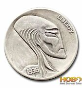Hobo Nickel Coin 1936 Buffalo Alien Hand Engraved By Gediminas Palsis