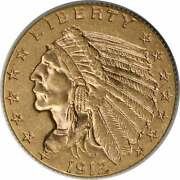 1912 2.50 Gold Indian Ms60 Uncertified